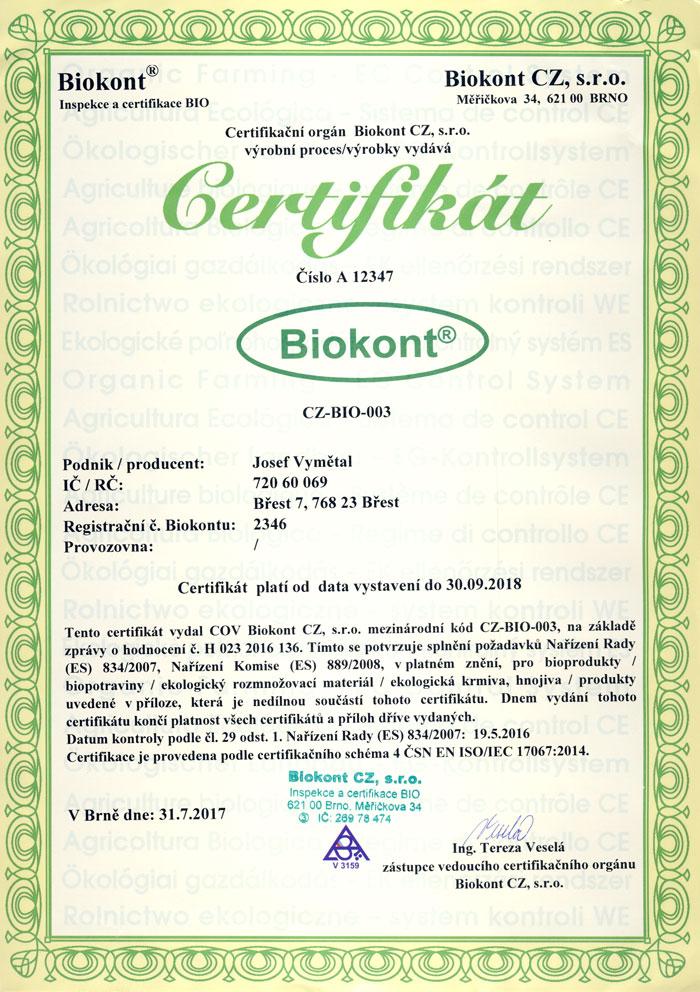 Certifikát Biokont CZ-BIO-003