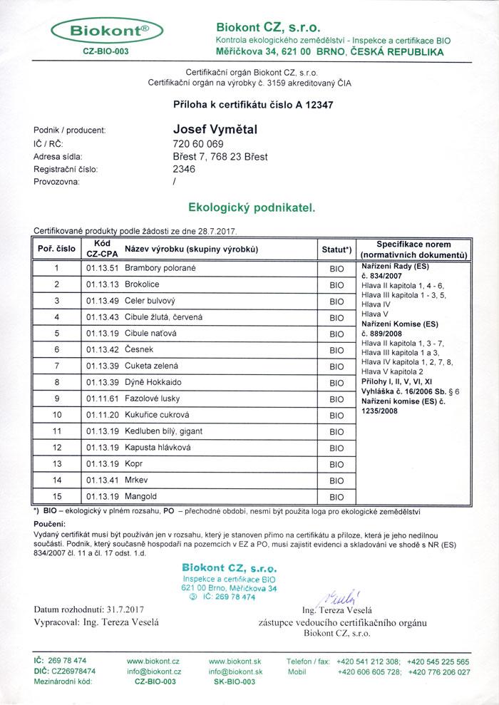 Certifikát Biokont CZ-BIO-003 - příloha